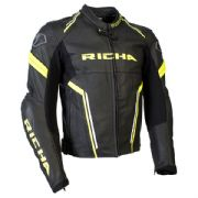 Richa Monza Leather Jacket Black/Fluo